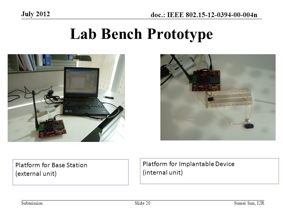 doc.: IEEE 802.15-12-0394-00-004n Submission Lab Bench Prototype Platform for Base Station (external unit) Platform for Implantable Device (internal unit) July 2012 Slide 20Sumei Sun, I2R