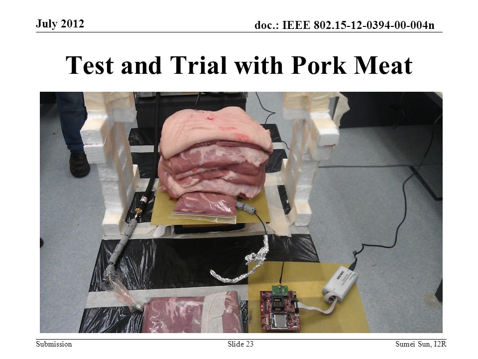 doc.: IEEE 802.15-12-0394-00-004n Submission Test and Trial with Pork Meat July 2012 Slide 23Sumei Sun, I2R