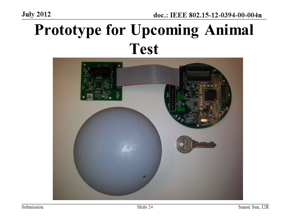 doc.: IEEE 802.15-12-0394-00-004n Submission Prototype for Upcoming Animal Test July 2012 Slide 24Sumei Sun, I2R