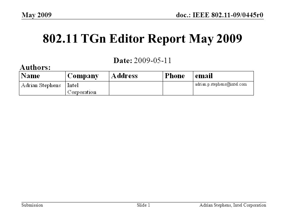doc.: IEEE /0445r0 Submission May 2009 Adrian Stephens, Intel CorporationSlide TGn Editor Report May 2009 Date: Authors:
