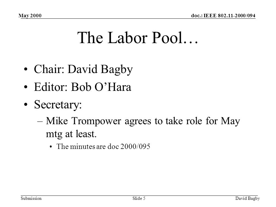 doc.: IEEE 802.11-2000/094 Submission May 2000 David BagbySlide 5 The Labor Pool… Chair: David Bagby Editor: Bob OHara Secretary: –Mike Trompower agrees to take role for May mtg at least.