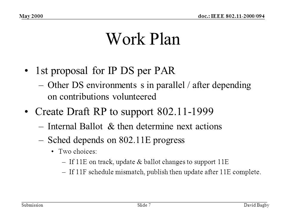 doc.: IEEE 802.11-2000/094 Submission May 2000 David BagbySlide 7 Work Plan 1st proposal for IP DS per PAR –Other DS environments s in parallel / after depending on contributions volunteered Create Draft RP to support 802.11-1999 –Internal Ballot & then determine next actions –Sched depends on 802.11E progress Two choices: –If 11E on track, update & ballot changes to support 11E –If 11F schedule mismatch, publish then update after 11E complete.