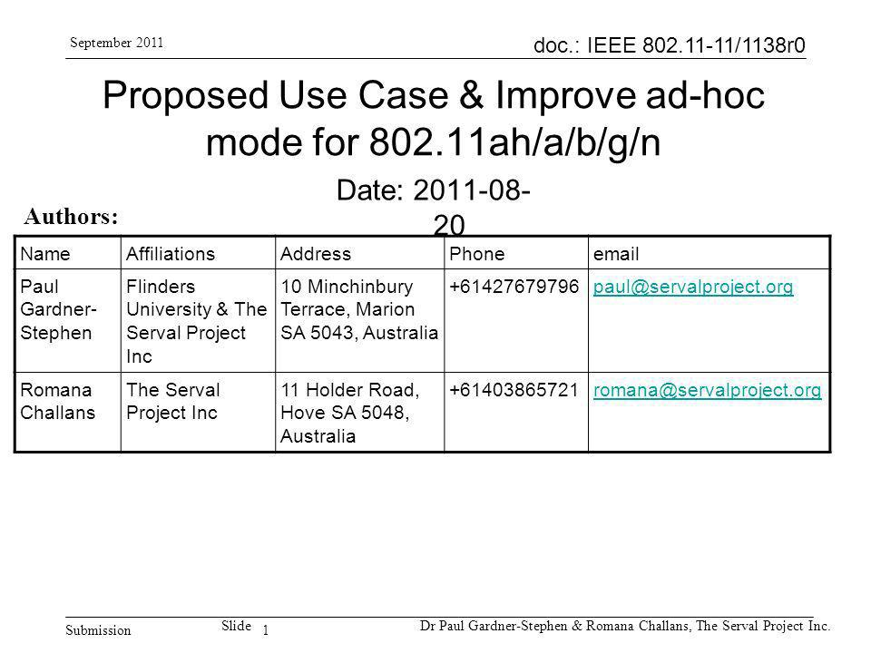 1 doc.: IEEE 802.11-11/1138r0 Submission SlideDr Paul Gardner-Stephen & Romana Challans, The Serval Project Inc.