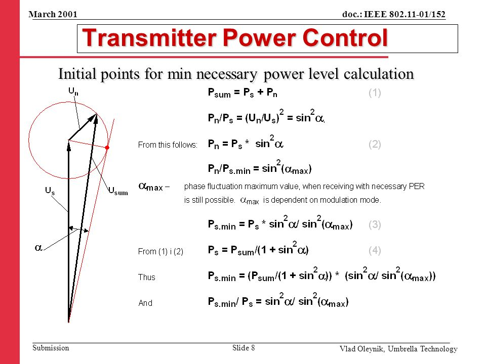 doc.: IEEE 802.11-01/152 Submission March 2001 Vlad Oleynik, Umbrella Technology Transmitter Power Control Initial points for min necessary power level calculation Slide 8