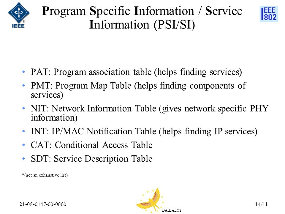 DAIDALOS 21-08-0147-00-000014/11 Program Specific Information / Service Information (PSI/SI) PAT: Program association table (helps finding services) PMT: Program Map Table (helps finding components of services) NIT: Network Information Table (gives network specific PHY information) INT: IP/MAC Notification Table (helps finding IP services) CAT: Conditional Access Table SDT: Service Description Table *(not an exhaustive list)