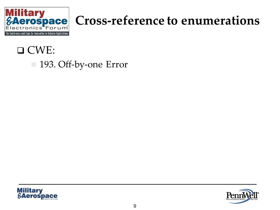 99 Cross-reference to enumerations CWE: 193. Off-by-one Error
