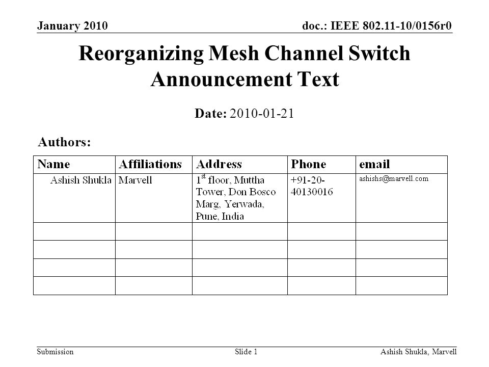 doc.: IEEE 802.11-10/0156r0 Submission January 2010 Ashish Shukla, MarvellSlide 1 Reorganizing Mesh Channel Switch Announcement Text Date: 2010-01-21 Authors:
