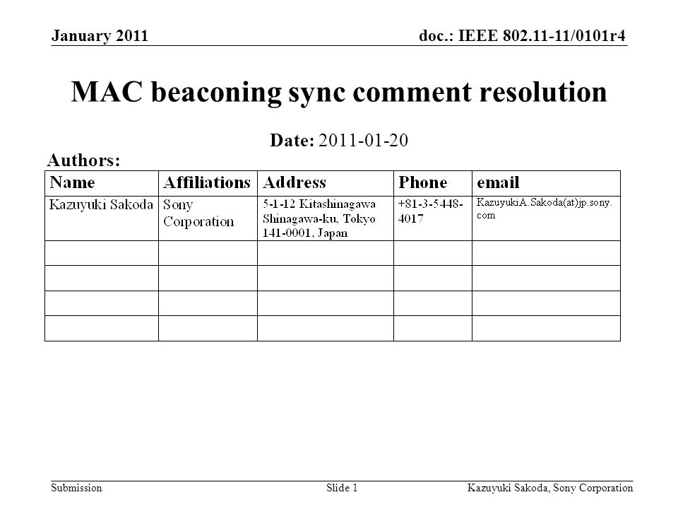 doc.: IEEE 802.11-11/0101r4 Submission January 2011 Kazuyuki Sakoda, Sony CorporationSlide 1 MAC beaconing sync comment resolution Date: 2011-01-20 Authors: