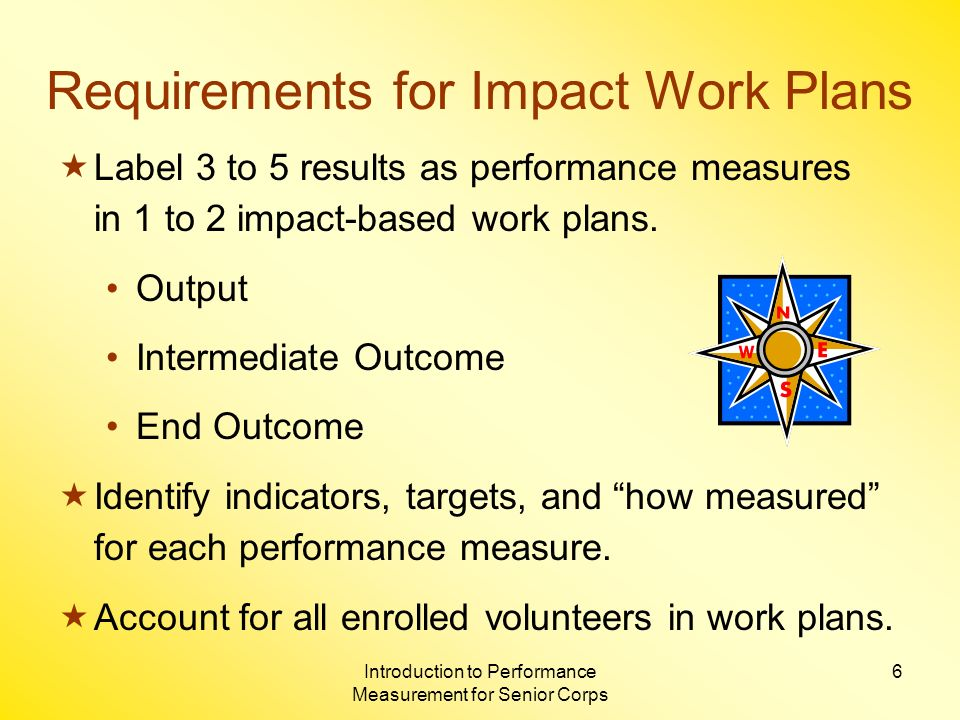 Introduction to Performance Measurement for Senior Corps 6 Requirements for Impact Work Plans Label 3 to 5 results as performance measures in 1 to 2 impact-based work plans.
