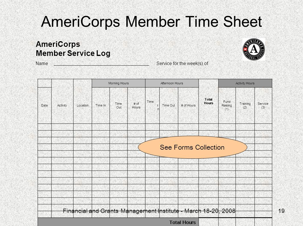 Financial and Grants Management Institute - March 18-20, 200819 AmeriCorps Member Time Sheet For program administration use only AmeriCorps Member Service Log Name Service for the week(s) of Morning HoursAfternoon Hours Total Hours Activity Hours DateActivityLocationTime In Time Out # of Hours Time I n Time Out# of Hours Fund Raising (1) Training (2) Service (3) Total Hours Member Signature Date Site Supervisor Signature Date AmeriCorps Member Service Log See Forms Collection