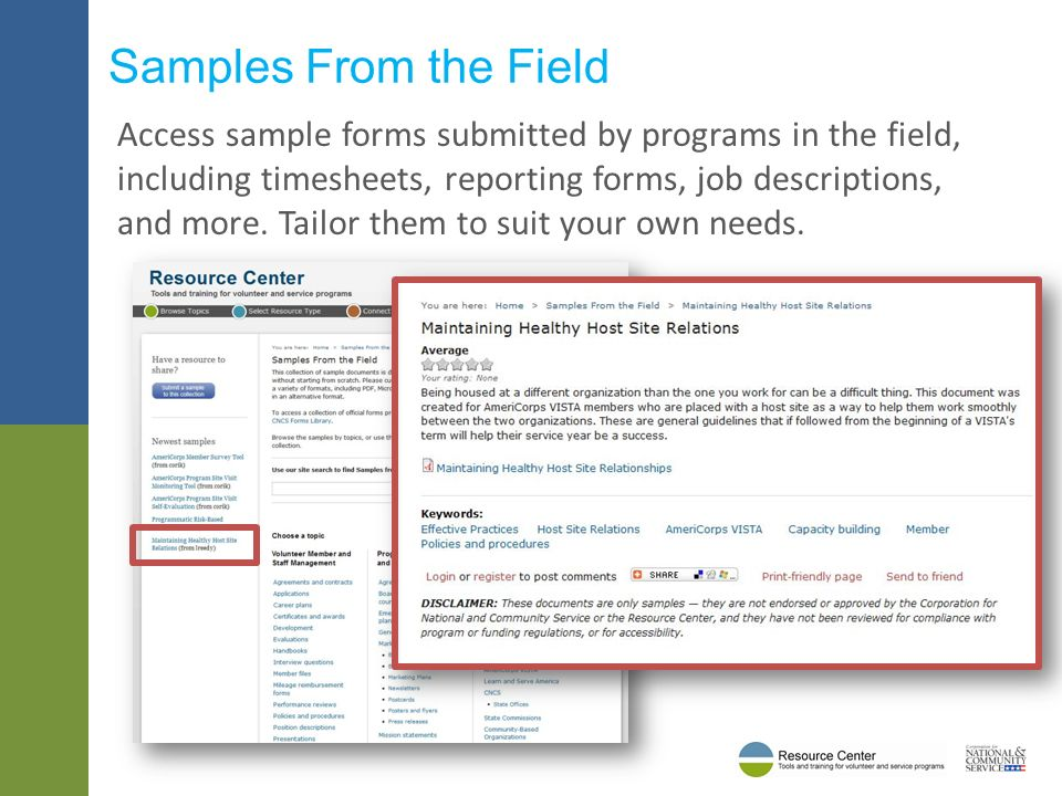 Access sample forms submitted by programs in the field, including timesheets, reporting forms, job descriptions, and more.