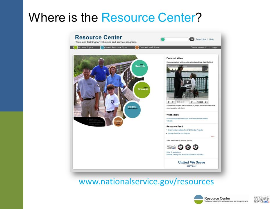 Where is the Resource Center www.nationalservice.gov/resources