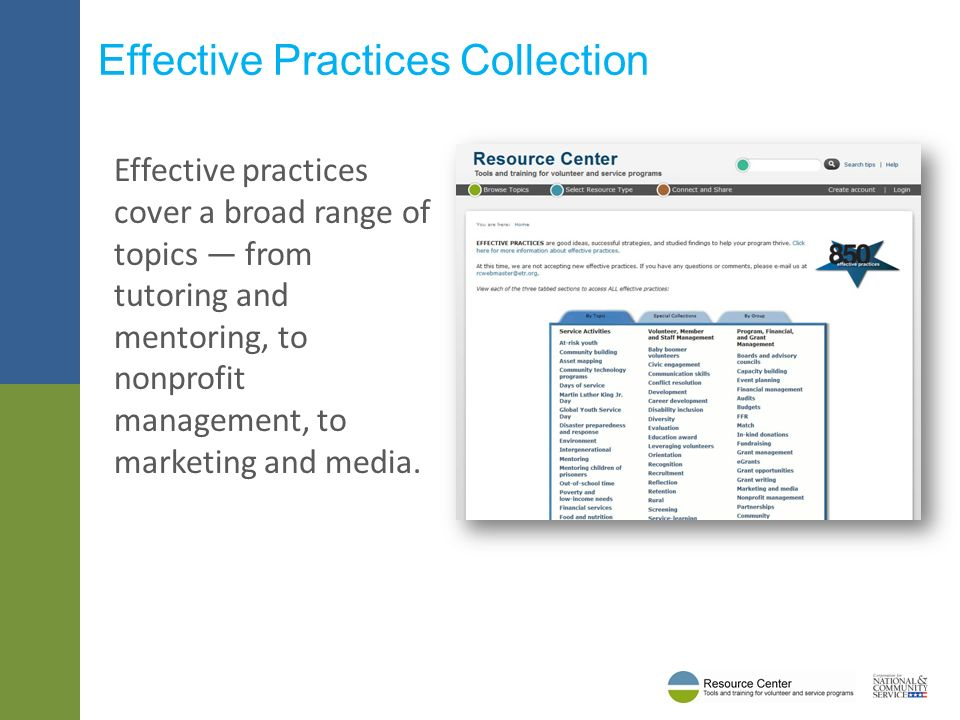 Effective practices cover a broad range of topics from tutoring and mentoring, to nonprofit management, to marketing and media.