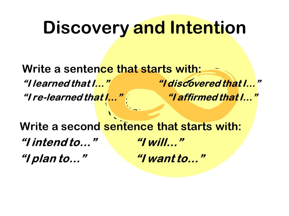 Discovery and Intention Write a sentence that starts with: I learned that I… I discovered that I… I re-learned that I… I affirmed that I… Write a second sentence that starts with: I intend to…I will… I plan to… I want to…