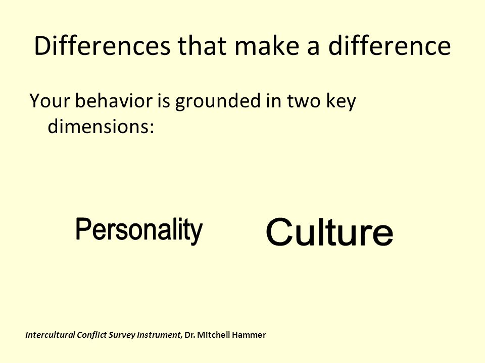 Differences that make a difference Your behavior is grounded in two key dimensions: Intercultural Conflict Survey Instrument, Dr.