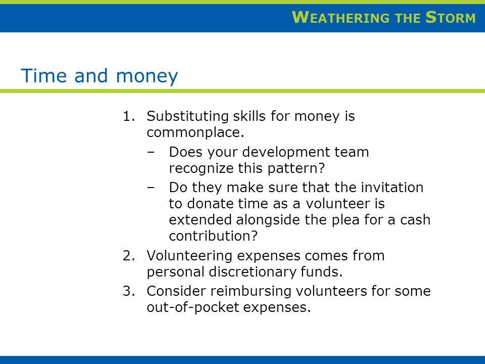 W EATHERING THE S TORM Time and money 1.Substituting skills for money is commonplace.