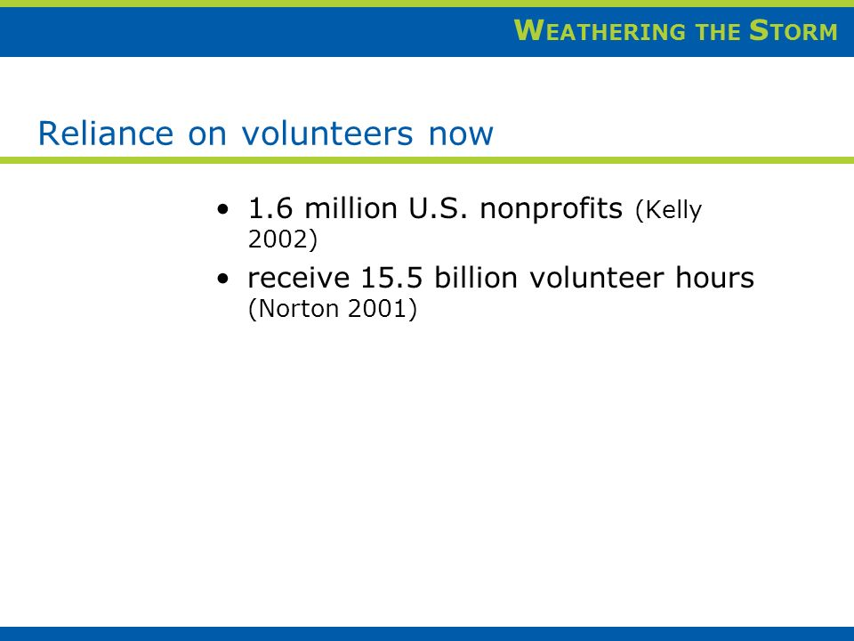 W EATHERING THE S TORM Reliance on volunteers now 1.6 million U.S.