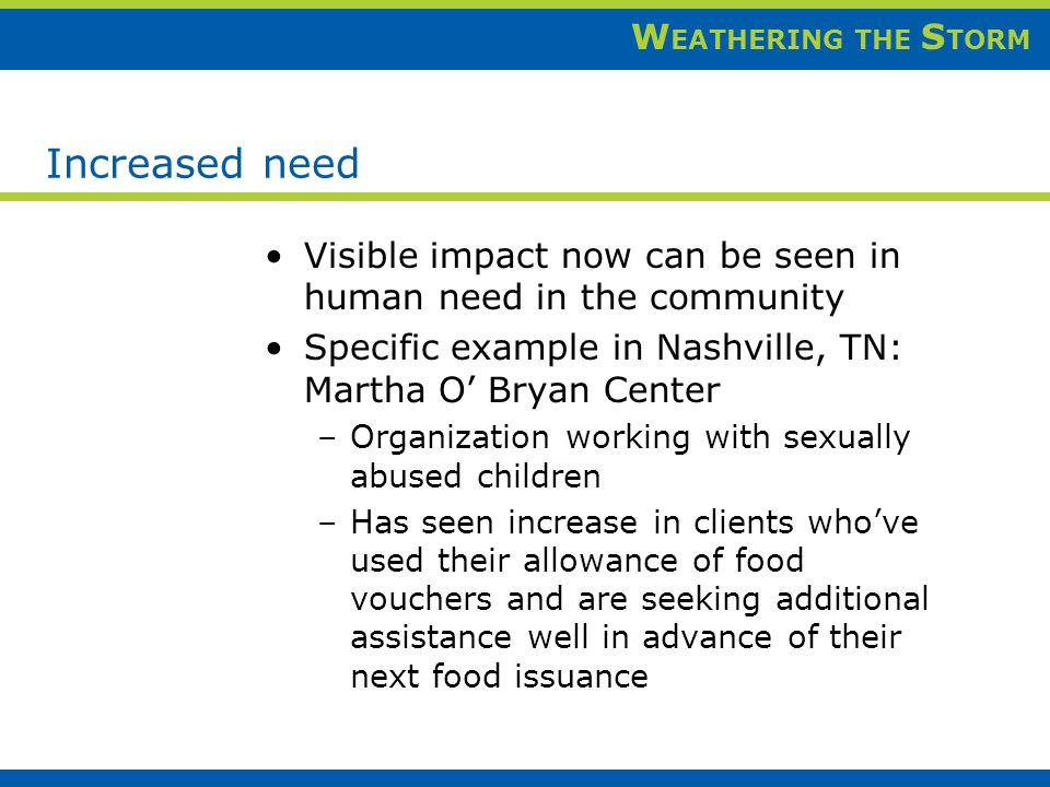 W EATHERING THE S TORM Increased need Visible impact now can be seen in human need in the community Specific example in Nashville, TN: Martha O Bryan Center –Organization working with sexually abused children –Has seen increase in clients whove used their allowance of food vouchers and are seeking additional assistance well in advance of their next food issuance