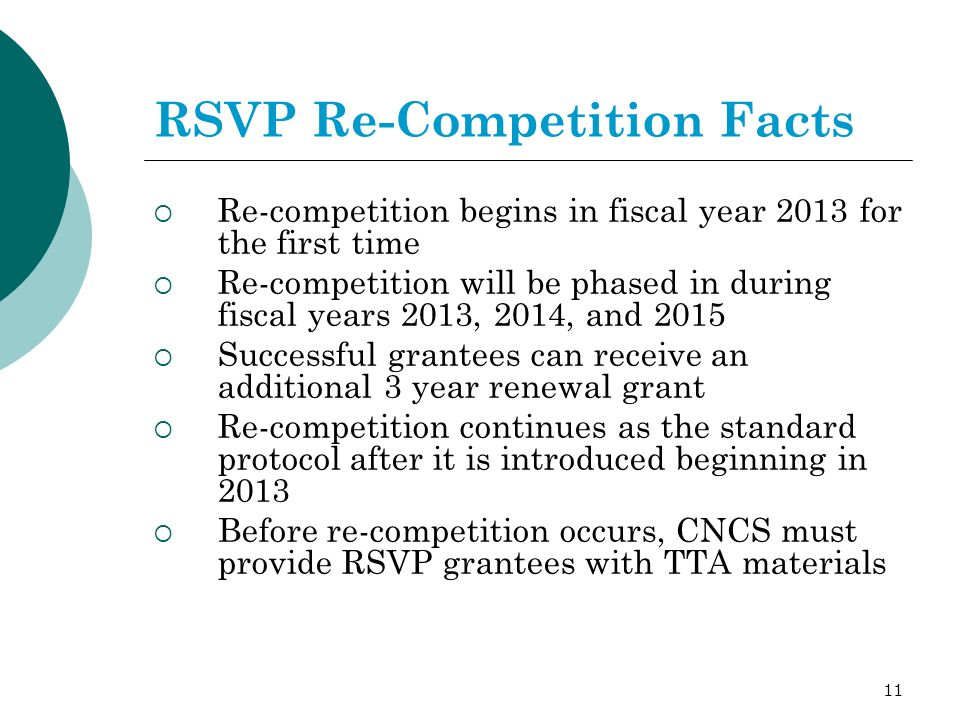 11 RSVP Re-Competition Facts Re-competition begins in fiscal year 2013 for the first time Re-competition will be phased in during fiscal years 2013, 2014, and 2015 Successful grantees can receive an additional 3 year renewal grant Re-competition continues as the standard protocol after it is introduced beginning in 2013 Before re-competition occurs, CNCS must provide RSVP grantees with TTA materials
