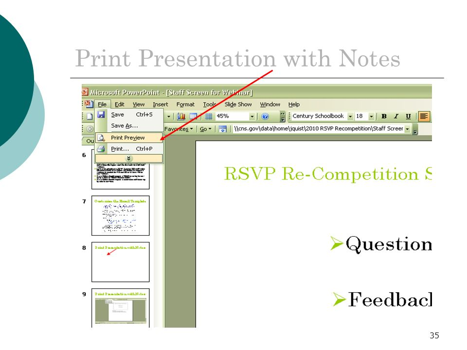 35 Print Presentation with Notes