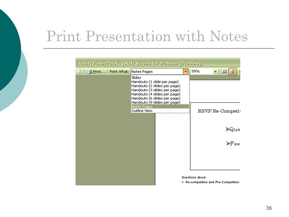 36 Print Presentation with Notes
