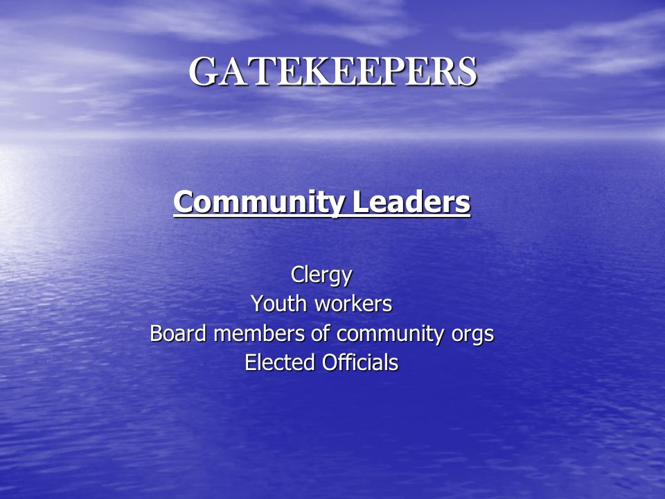 GATEKEEPERS Community Leaders Clergy Youth workers Board members of community orgs Elected Officials