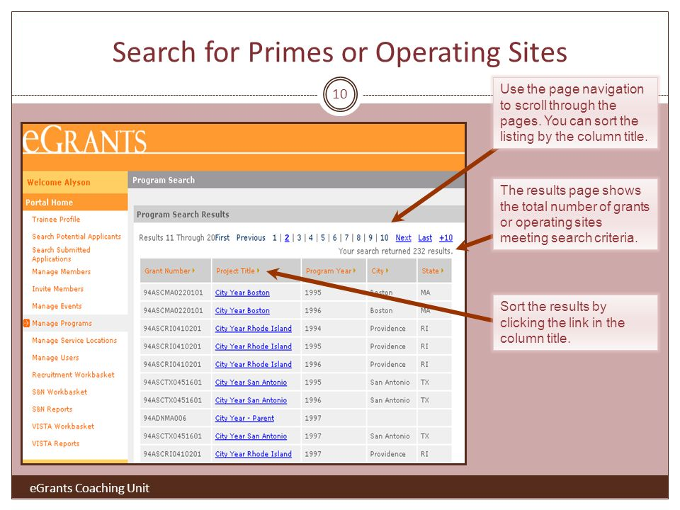 10 Search for Primes or Operating Sites The results page shows the total number of grants or operating sites meeting search criteria.