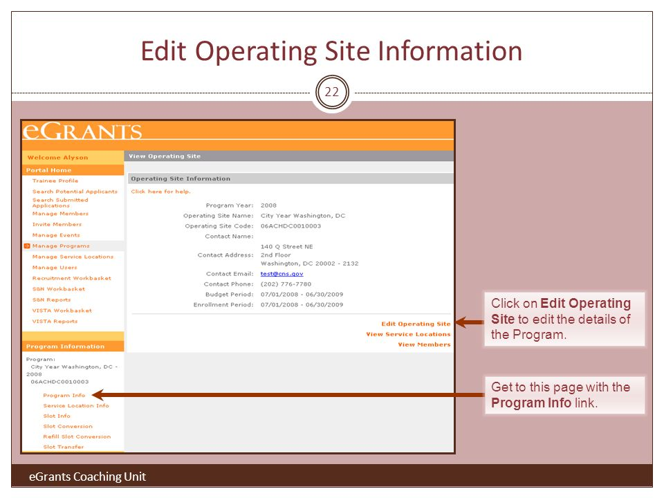 22 Edit Operating Site Information Click on Edit Operating Site to edit the details of the Program.