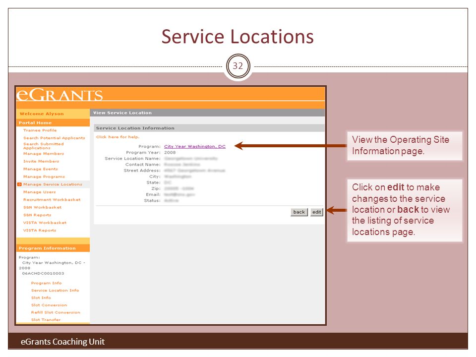 32 Click on edit to make changes to the service location or back to view the listing of service locations page.