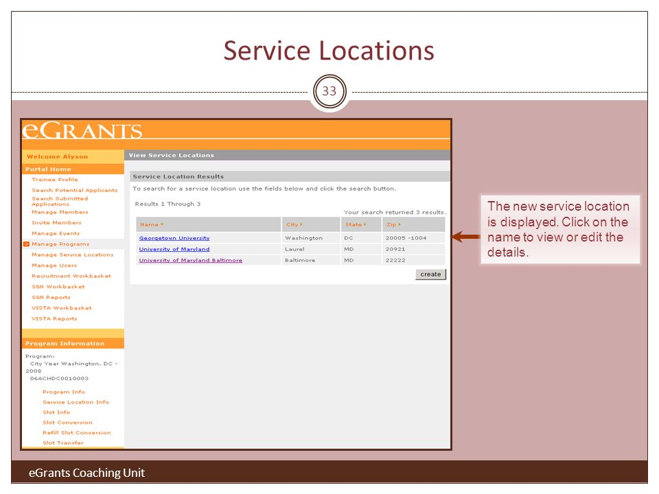 33 The new service location is displayed. Click on the name to view or edit the details.