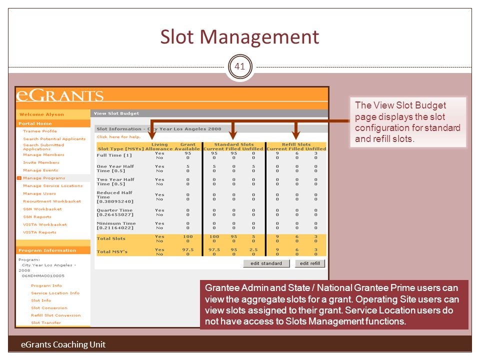 Slot Management 41 The View Slot Budget page displays the slot configuration for standard and refill slots.