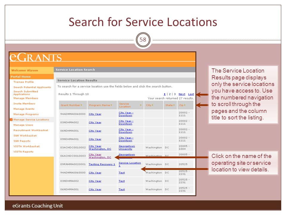 58 The Service Location Results page displays only the service locations you have access to.