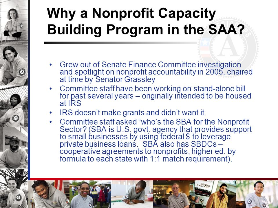 Why a Nonprofit Capacity Building Program in the SAA.