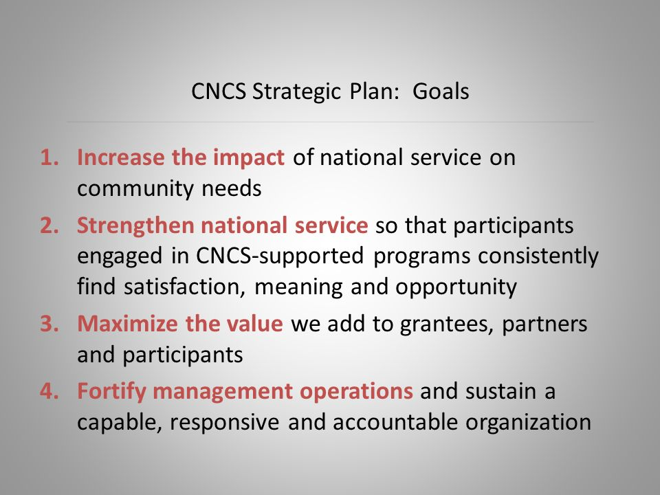1.Increase the impact of national service on community needs 2.Strengthen national service so that participants engaged in CNCS-supported programs consistently find satisfaction, meaning and opportunity 3.Maximize the value we add to grantees, partners and participants 4.Fortify management operations and sustain a capable, responsive and accountable organization CNCS Strategic Plan: Goals
