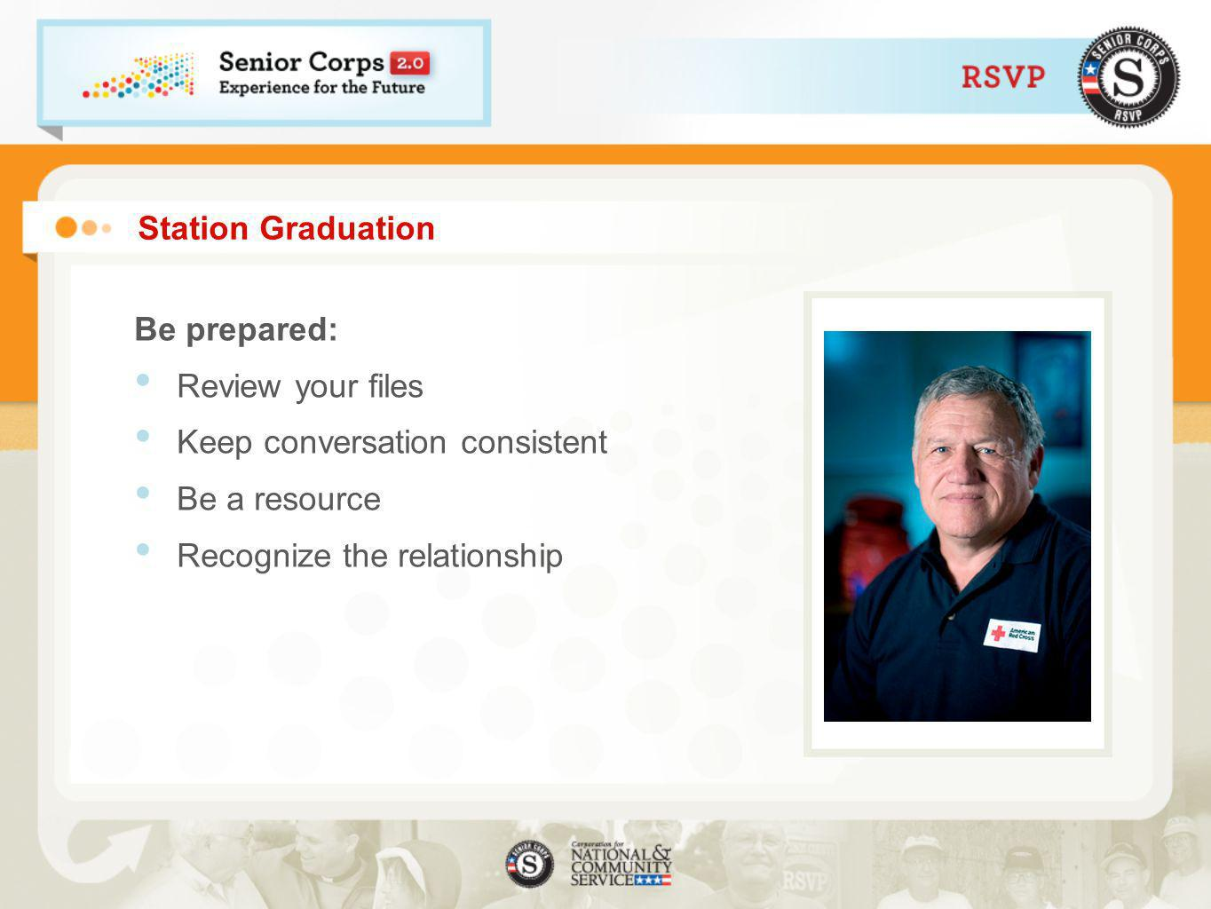 Station Graduation Be prepared: Review your files Keep conversation consistent Be a resource Recognize the relationship