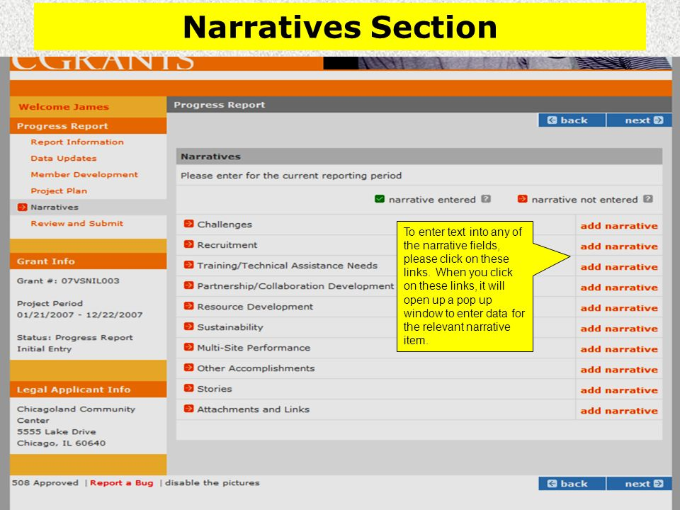 Narratives Section To enter text into any of the narrative fields, please click on these links.