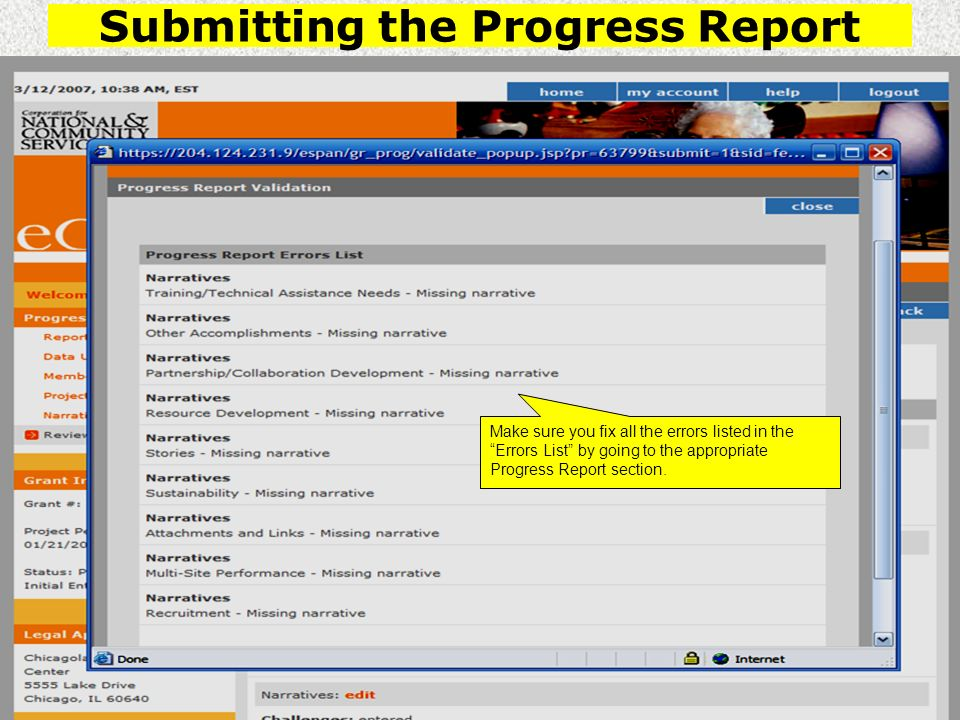 Submitting the Progress Report Make sure you fix all the errors listed in the Errors List by going to the appropriate Progress Report section.