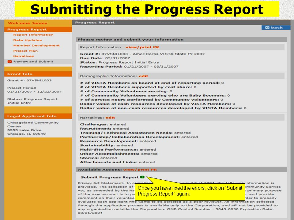 Submitting the Progress Report Once you have fixed the errors, click on Submit Progress Report again.