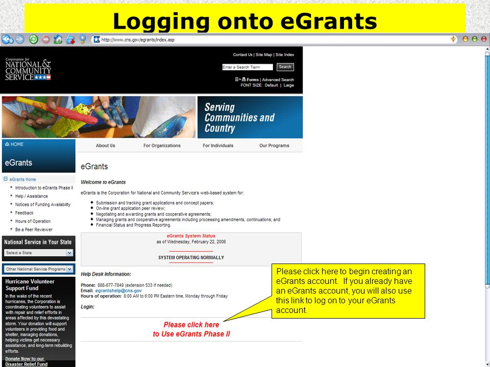 Logging onto eGrants Please click here to begin creating an eGrants account.
