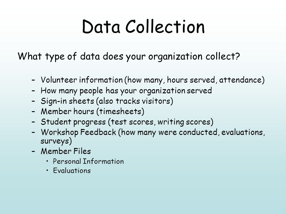 Data Collection What type of data does your organization collect.
