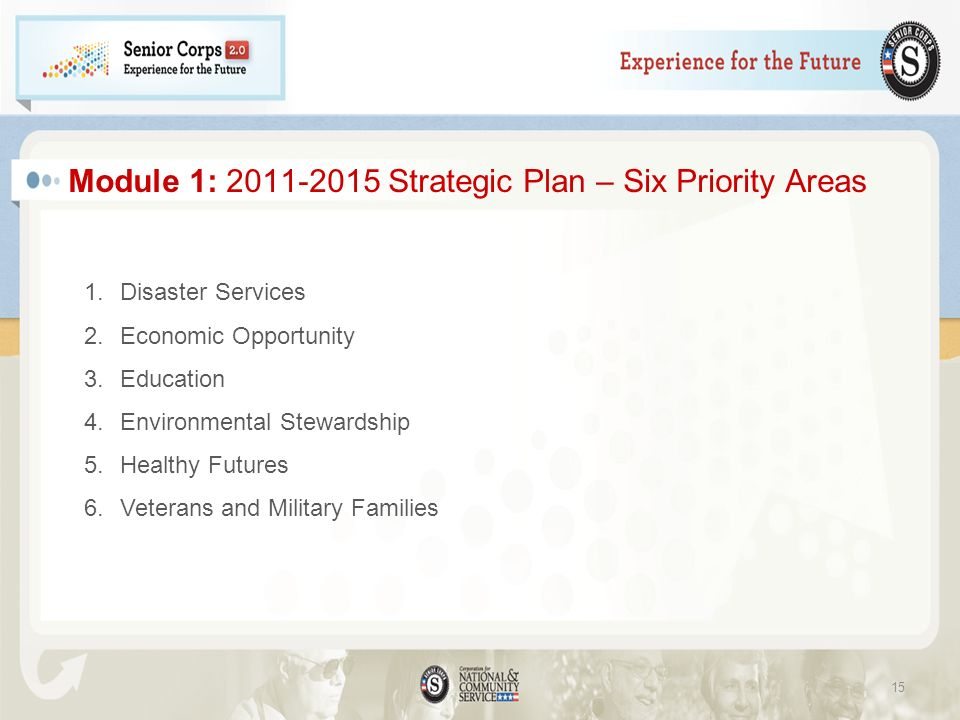 Module 1: 2011-2015 Strategic Plan – Six Priority Areas 1.Disaster Services 2.Economic Opportunity 3.Education 4.Environmental Stewardship 5.Healthy Futures 6.Veterans and Military Families 15