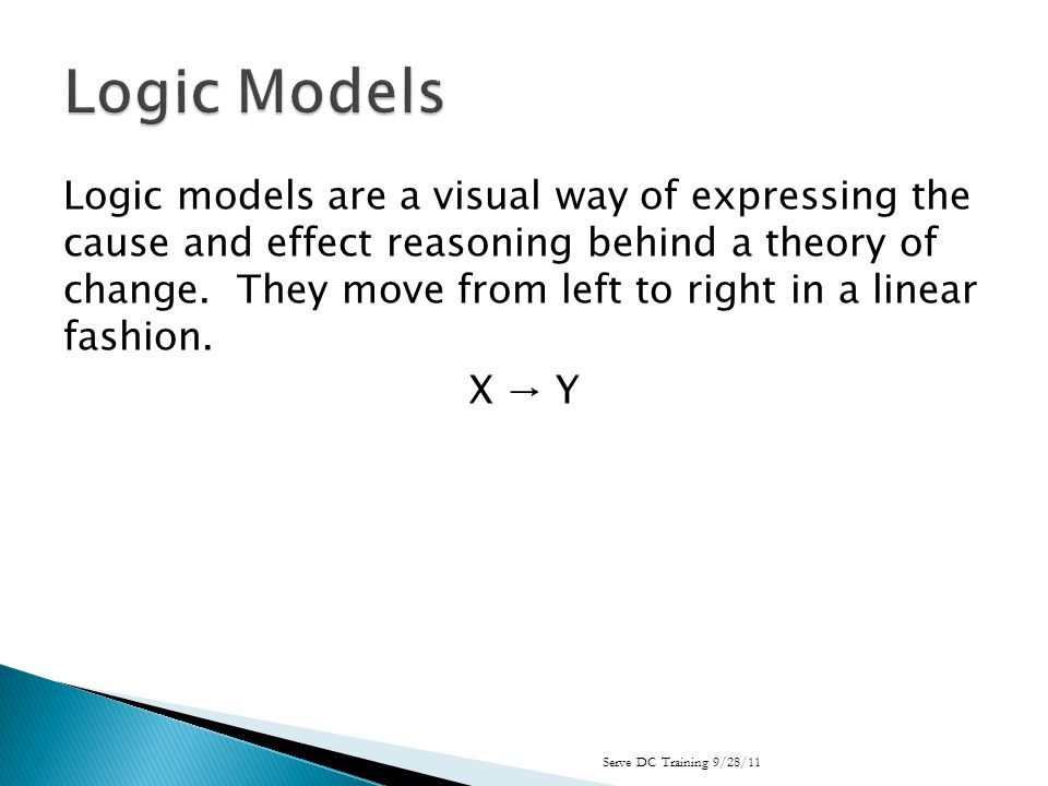 Logic models are a visual way of expressing the cause and effect reasoning behind a theory of change.