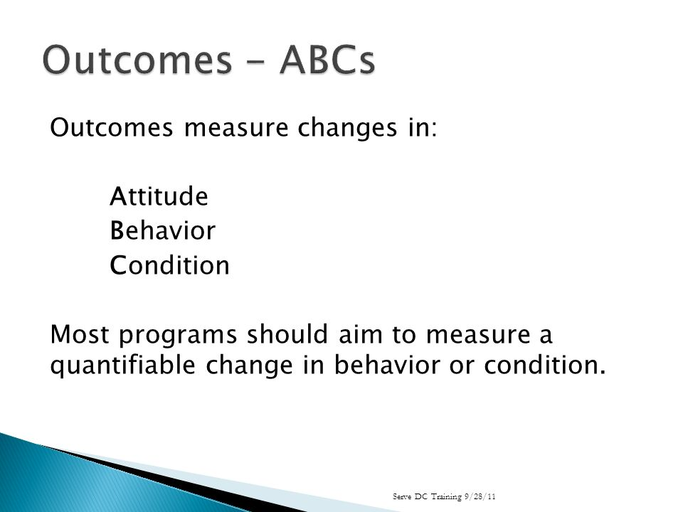 Outcomes measure changes in: Attitude Behavior Condition Most programs should aim to measure a quantifiable change in behavior or condition.