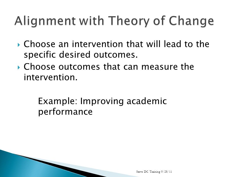 Choose an intervention that will lead to the specific desired outcomes.