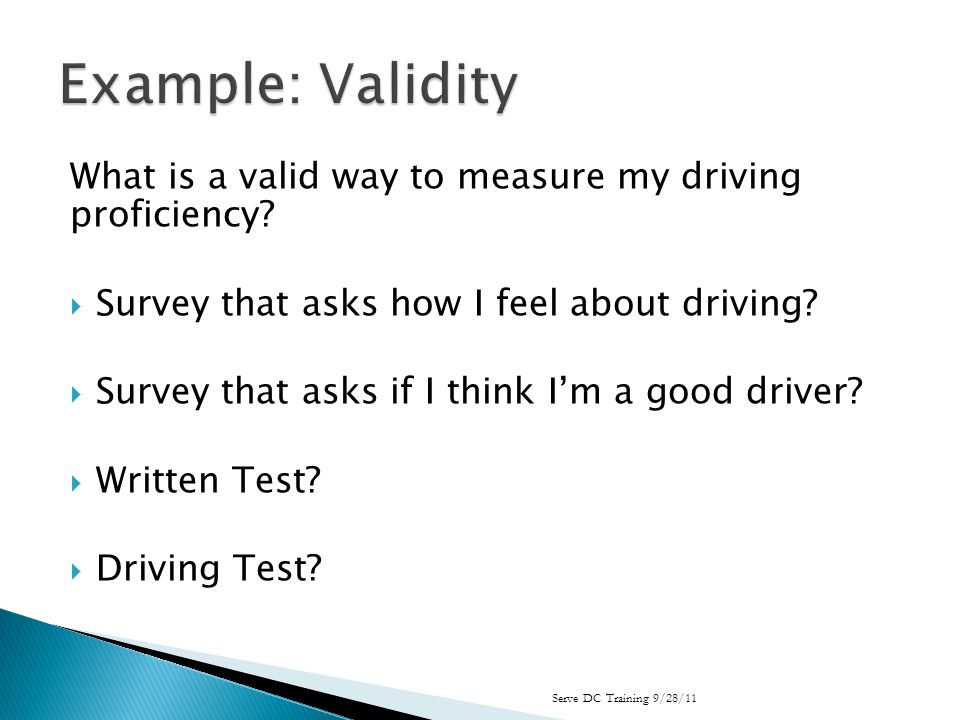 What is a valid way to measure my driving proficiency.