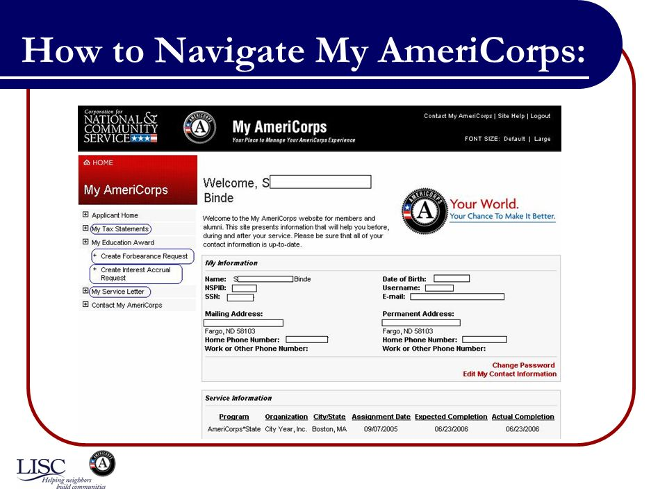 How to Navigate My AmeriCorps: