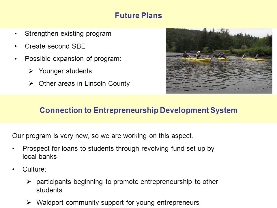 Strengthen existing program Create second SBE Possible expansion of program: Younger students Other areas in Lincoln County Our program is very new, so we are working on this aspect.