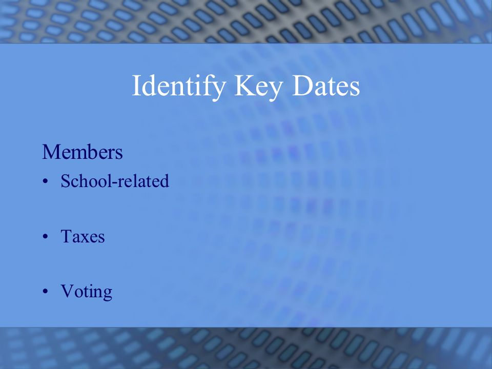 Identify Key Dates Members School-related Taxes Voting