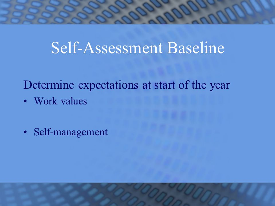 Self-Assessment Baseline Determine expectations at start of the year Work values Self-management