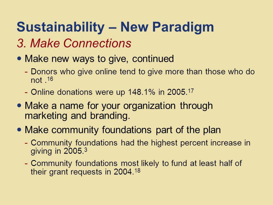 Sustainability – New Paradigm Make a long-term plan that uses the solutions to eliminate the need Make partnerships - 89% of Americans want non-profits and corporations to work in partnership.